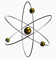 Conceptual illustration of an atom showing the nucleus and electron orbitals