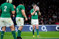Jonathan Sexton of Ireland has a word with his back-line. RBS Six Nations match between England and Ireland on February 27, 2016 at Twickenham Stadium in London, England. Photo by: Patrick Khachfe / Onside Images