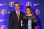 16 January 2015: Rachel Tejada (Illinois State), with NWSL commissioner Jeff Plush, was selected 32nd overall by the Chicago Red Stars. The National Women's Soccer League Draft was held at the Pennsylvania Convention Center in Philadelphia, Pennsylvania.