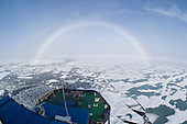 Sunlight through a fog bank over ice floes created an Arctic phenomenon often called a fogbow or white rainbow.