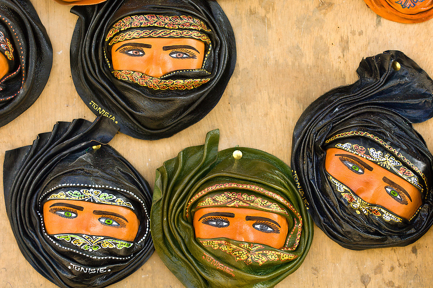 Souvenir hangings of veiled women, Sidi Bou Said, Tunisia
