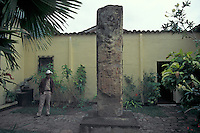 Interior courtyard of the Museo de Arqueologia Maya in the town of Copan Ruinas, Honduras