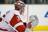 Jimmy Howard (Detroit Red Wings, #35) during ice-hockey match between Los Angeles Kings and Detroit Red Wings in NHL league, February 28, 2011 at Staples Center, Los Angeles, USA. (Photo By Matic Klansek Velej / Sportida.com)