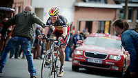 Liege-Bastogne-Liege 2012.98th edition..Philippe Gilbert lost touch with the leaders up Saint-Nicolas, but is still giving it his all