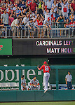 28 May 2016: Washington Nationals outfielder Jayson Werth can only watch a Matt Holliday home run clear the bullpen fence in the 3rd inning against the St. Louis Cardinals at Nationals Park in Washington, DC. The Cardinals defeated the Nationals 9-4 to take a 2-games to 1 lead in their 4-game series. Mandatory Credit: Ed Wolfstein Photo *** RAW (NEF) Image File Available ***