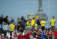 23 April 2011: Small but vocal Columbus Crew fans show their support during an MLS game between the Columbus Crew and the Toronto FC at BMO Field in Toronto, Ontario Canada..The game ended in a 1-1 draw.