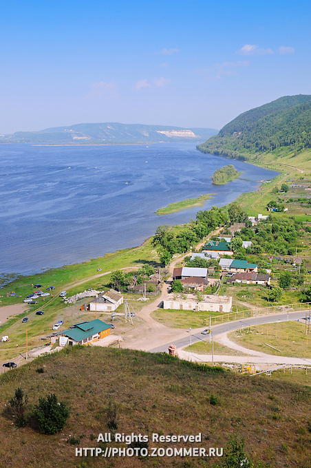 """Volga river in summer, as seen from the mountains of the National Park """"Samara Luka"""""""