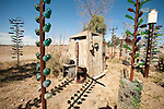 Outhouse at Elmer Long's Bottle Tree Garden along historic Route 66 (National Trails Highway)