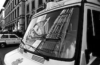 Il Duomo reflecting in the windshield of an ambulance. Florence, Italy<br />