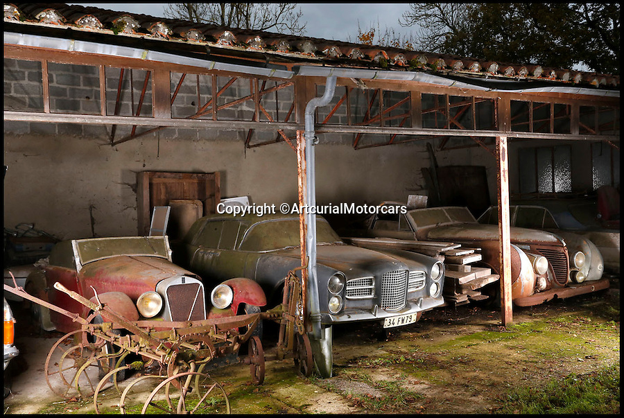 BNPS.co.uk (01202 558833)<br /> Pic: ArtcurialMotorcars/BNPS<br /> <br /> ***Please Use Full Bylne***<br /> <br /> Facel Vega (middle) and Talbot Lago T26 Cabriet Saoutchik.<br /> <br /> An incredible &pound;12 million treasure trove of classic cars has been discovered after spending 50 years languishing in storage on a farm.<br /> <br /> The 60 rusting motors, which include a vintage Ferrari California Spider, a Bugatti and a very rare Maserati, were found gathering dust and hidden under piles of newspapers in garages and outbuildings at a property in France.<br /> <br /> The 'once-in-a-lifetime' find has been compared to a major archaeological discovery, on a par with Tutankhamun's tomb.