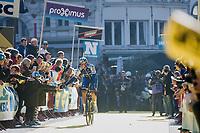 high 5 for some young fans from Niki Terpstra (NED/Quick-Step Floors) at the (new) race start in Antwerpen<br /> <br /> 101th Ronde Van Vlaanderen 2017 (1.UWT)<br /> 1day race: Antwerp &rsaquo; Oudenaarde - BEL (260km)