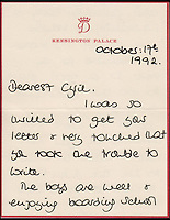 BNPS.co.uk (01202 558833)<br /> Pic: Cheffins/BNPS<br /> <br /> A letter from Diana to Cyril dated October 17, 1992, she tells Cyril the boys are enjoying boarding school but Harry is constantly in trouble sold for &pound;3,050.<br />  <br /> Heartwarming unseen letters from Princess Diana in which she speaks of Prince William's love for his younger brother and Prince Harry's rebellious side have sold at auction for a total of &pound;19,185.<br /> <br /> In the letters to the late Cyril Dickman, who served as a steward at Buckingham Palace for more than 50 years, she spoke of how William 'could not stop kissing' Harry after he was born in September 1984.<br /> <br /> One particularly touching letter to Mr Dickman, dated March 2, 1985, reads: &quot;William adores his little brother and spends the entire time swamping Harry with an endless supply of hugs and kisses, hardly letting the parents near!&quot; <br /> <br /> The letters were sold individually at Cheffins auctioneers today.