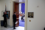 Congressman-elect Jim Bridenstine, from Oklahoma's First District, center, finishes the second of three rooms where he made decisions about his future office, in the Rayburn House Office Building in Washington, DC on Nov. 30, 2012.