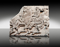 Marble Releif Sculptures from the north frieze around the Parthenon Block XLII 115-117. From the Parthenon of the Acropolis Athens. A British Museum Exhibit known as The Elgin Marbles