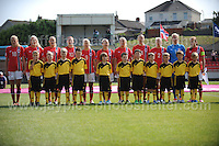 The Norgeigan team line for the National anthems at the UEFA Womens U19 Championships at Stebonheath park Sunday 25th August 2013. All images are the copyright of Jeff Thomas Photography-www.jaypics.photoshelter.com-07837 386244-Any use of images must be authorised by the copyright owner.