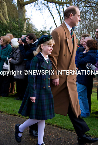 """KATE'S 1ST CHRISTMAS AT SANDRINGHAM.Catherine, Duchess of Cambridge joined members of the Royal Family for her first Christmas at Sandringham, Norfolk..She attended Christmas Day Service together with other members of the Roayal Familt a St. Mary Magdalene Church, Sandringham_25/12/2011.Picture Shows: Prince Edward and daughter Louise.Mandatory Credit Photo: ©Catherine Souto/NEWSPIX INTERNATIONAL..Please telephone : +441279324672 for usage fees..**ALL FEES PAYABLE TO: """"NEWSPIX INTERNATIONAL""""**..IMMEDIATE CONFIRMATION OF USAGE REQUIRED:.Newspix International, 31 Chinnery Hill, Bishop's Stortford, ENGLAND CM23 3PS.Tel:+441279 324672  ; Fax: +441279656877.Mobile:  07775681153.e-mail: info@newspixinternational.co.uk"""