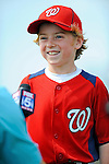25 February 2012: Washington Nationals' first baseman Adam LaRoche's son Drake is interviewed for television during the first full squad Spring Training workout at the Carl Barger Baseball Complex in Viera, Florida. Mandatory Credit: Ed Wolfstein Photo