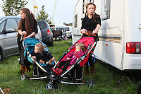 2/10/2010. Traveler girls are pictured  outside their caravan at the Ballinasloe Horse Fair, Ballinasloe County Galway, Ireland. Picture James Horan