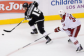Brad Richardson (Los Angeles Kings, #15) vs Adrian Aucoin (Phoenix Coyotes, #33) during ice-hockey match between Los Angeles Kings and Phoenix Coyotes in NHL league, March 3, 2011 at Staples Center, Los Angeles, USA. (Photo By Matic Klansek Velej / Sportida.com)