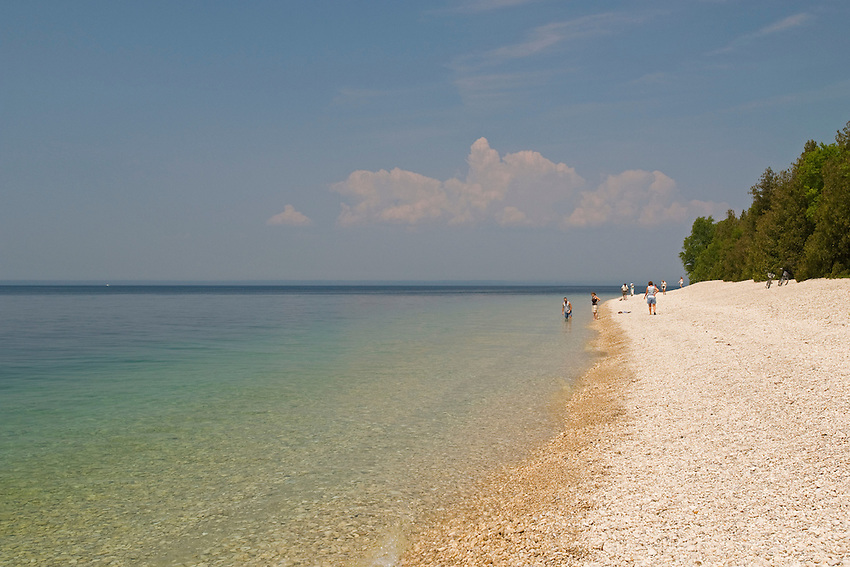 A Lake Huron beach at Mackinac Island in Michigan.