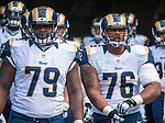 St. Louis Rams offensive linemen Greg Robinson (79) and Rodger Safford (76) waits to depart the visitor's room tunnel to go onto  the field at CenturyLink Field in Seattle, Washington on December 28, 2014.  The Seahawks officially wrapped up the No. 1 seed in the NFC playoffs shortly after beating the Rams, 20-6. Despite the Cowboys and Packers also winning to finish 12-4, the Seahawks (12-4) won the multi-team tiebreaker and earned home-field advantage throughout the playoffs for the second consecutive season.  ©2014. Jim Bryant Photo. All Rights Reserved.