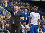 Coach Calipari yells from the sidelines during the game against the Florida Gators at Rupp Arena on February 6, 2016 in Lexington, Kentucky. Kentucky defeated Florida 80-61.
