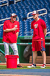 22 May 2015: Washington Nationals starting pitcher Stephen Strasburg (right), chats with Bench Coach Randy Knorr prior to a game against the Philadelphia Phillies at Nationals Park in Washington, DC. The Nationals defeated the Phillies 2-1 in the first game of their 3-game weekend series. Mandatory Credit: Ed Wolfstein Photo *** RAW (NEF) Image File Available ***