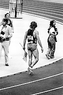 July 30th, 1976. Montreal, Canada. Bruce Jenner, american athlete, wins the Decathlon during the Olympic games. He won the gold medal scoring 8,616 points, beating the world record.