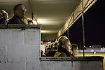 Gretna 0 Dalbeattie Star 0, 11/03/2016. Raydale Park, Lowland League. Spectators in the main stand watching the action at Raydale Park, as Gretna take on Dalbeattie Star in a Scottish Lowland League fixture which ended 0-0. The match was one of six arranged by the league and GroundhopUK over the weekend to accommodate groundhoppers, fans who attempt to visit as many football venues as possible. Around 100 fans in two coaches from England participated in the 2016 Lowland League Groundhop and they were joined by other individuals from across the UK which helped boost crowds at the six featured matches. Photo by Colin McPherson.