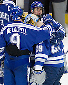 Kyle De Laurell (Air Force - 9), Jason Torf (Air Force - 29), Brad Sellers (Air Force - 3) - The Yale University Bulldogs defeated the Air Force Academy Falcons 2-1 (OT) in their East Regional Semi-Final matchup on Friday, March 25, 2011, at Webster Bank Arena at Harbor Yard in Bridgeport, Connecticut.