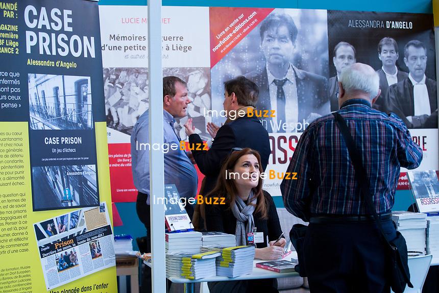 EXCLUSIF : Foire du livre de Bruxelles : Conf&eacute;rence : &quot;Comment r&eacute;enchanter la Justice&quot; - Avec Bernard Wesphael, Alessandra d'Angelo et Jean-Fran&ccedil;ois Funck, magistrat - Mod&eacute;rateur : Dominique Demoulin.<br /> Belgique, Bruxelles, 9 mars 2017.<br /> Pic :  Alessandra d'Angelo