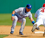 11 March 2006: Chin-lung Hu, infielder for the Los Angeles Dodgers, attempt a tag at second base during a Spring Training game against the Washington Nationals. The Nationals defeated the Dodgers 2-1 in 10 innings at Space Coast Stadium, in Viera, Florida...Mandatory Photo Credit: Ed Wolfstein.