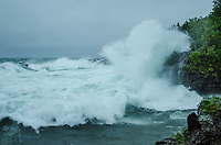 Massive waves on Lake Superior creating some dramatic scenes as they smash into the rocky shoreline. Marquette, MI