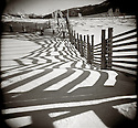 PL12315-00...WYOMING - Holga image of a fence line at the Buffalo Ranch in Yellowstone National Park.