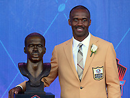Canton, OH - August 6, 2016: Former NFL player Marvin Harrison poses with his bust after giving his speech at the Pro Football Hall of Fame Enshrinement Ceremony in Canton, Ohio, August 6, 2016. Harrison retired after the 2008 season with 1,102 career receptions, 128 touchdown and 14,580 yards, which ranked him 4th all-time.  (Photo by Don Baxter/Media Images International)