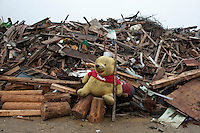 Landscape view of a stuffed animal and accumulated wood debris following the 311 Tohoku Tsunami in Tokura, Japan  © LAN
