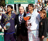 Rafael Nadal, Fernando Verdasco, Prince Albert of Monaco and Elizabeth-Ann de Massy. Following the match between Rafael NADAL (ESP) and Fernando VERDASCO (ESP) in the final. Rafael Nadal beat Fernando Verdasco 6-0 6-1..International Tennis - 2010 ATP World Tour - Masters 1000 - Monte-Carlo Rolex Masters - Monte-Carlo Country Club - Alpes-Maritimes - France..© AMN Images, Barry House, 20-22 Worple Road, London, SW19 4DH.Tel -  + 44 20 8947 0100.Fax - + 44 20 8947 0117