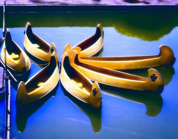 Yellow boats on a pleasure lake