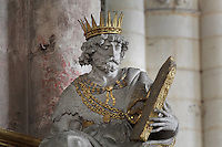 Statue of King Solomon holding a stone tablet, 1627 by Nicolas Blasset, 1600-59, French sculptor, donated by Antoine Pingre, in the Chapel of Notre-Dame du Pilier Rouge or Notre Dame du Puy, in the South transept of the Basilique Cathedrale Notre-Dame d'Amiens or Cathedral Basilica of Our Lady of Amiens, built 1220-70 in Gothic style, Amiens, Picardy, France. Statues of David, Solomon et Judith by Blasset surround the altarpiece of the chapel. Amiens Cathedral was listed as a UNESCO World Heritage Site in 1981. Picture by Manuel Cohen