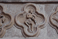 Aquarius, detail of the signs of the Zodiac, Saint Firmin's portal, Amiens Cathedral, 13th century, Amiens, Somme, Picardie, France. Picture by Manuel Cohen