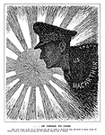 ... Of Things to Come. [The total eclipse of the sun on February 4th will be visible in North-east Asia, the North of Japan, across the Pacific Ocean in a semi-circle passing near the Aleutian Islands and in Alaska.] (the silhouette of General MacArthur moves infront of the Japanese sun to eclipse it)