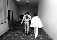 Elvis Presley impersonators compete at an Elvis impersonators convention in Chicago.