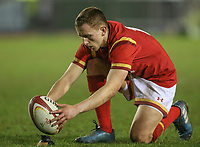 Wales U20's Ben Jones prepares for a kick at goal<br /> <br /> Photographer Alex Dodd/CameraSport<br /> <br /> RBS Six Nations U20 Championship Round 4 - Wales U20s v Ireland U20s - Saturday 11th March 2017 - Parc Eirias, Colwyn Bay, North Wales<br /> <br /> World Copyright &copy; 2017 CameraSport. All rights reserved. 43 Linden Ave. Countesthorpe. Leicester. England. LE8 5PG - Tel: +44 (0) 116 277 4147 - admin@camerasport.com - www.camerasport.com