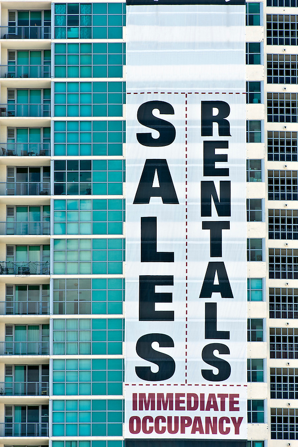 Advertising banner in condominium apartment.