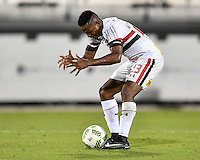 Orlando, FL - Saturday Jan. 21, 2017: São Paulo midfielder T. Mendes (23) reacts to an officials call during the second half of the Florida Cup Championship match between São Paulo and Corinthians at Bright House Networks Stadium. The game ended 0-0 in regulation with São Paulo defeating Corinthians 4-3 on penalty kicks.