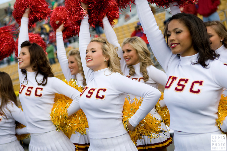10/17/09 - South Bend, IN:  The USC song girls cheer at Notre Dame Stadium on Saturday.  USC won the game 34-27 to extend its win streak over Notre Dame to 8 games.  Photo by Christopher McGuire.