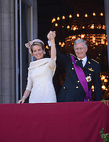The Belgian Royal Family greets the Population from the balcony of the Royal Palace - Belgium
