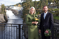 Crown Prince Haakon and Crown Princess Mette Marit of Norway visit Notodden, during a three day visit to the county of Telemark, Norway,