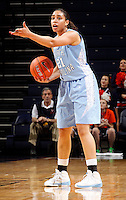 CHARLOTTESVILLE, VA- JANUARY 5: Krista Gross #21 of the North Carolina Tar Heels handles the ball during the game against the Virginia Cavaliers on January 5, 2012 at the John Paul Jones arena in Charlottesville, Virginia. North Carolina defeated Virginia 78-73. (Photo by Andrew Shurtleff/Getty Images) *** Local Caption *** Krista Gross