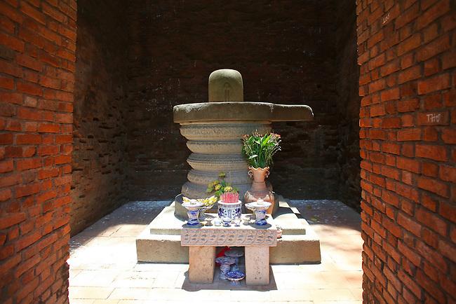 Ancient altar illuminated at midday. Thap Doi Cham Towers. Quy Nhon, Vietnam. April 27, 2016.